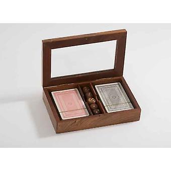 Conjunto de cubierta de tarjeta 2 con dados de Poker y juegos de la familia en una caja de regalo de madera elegante con ventana