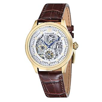 Academia de Thomas Earnshaw Es-8039-03 oro y marrón textura cuero automático Skeleton Watch de Men