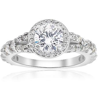 1 1/4ct Halo Split Shank Diamond Engagement Ring 14K White Gold