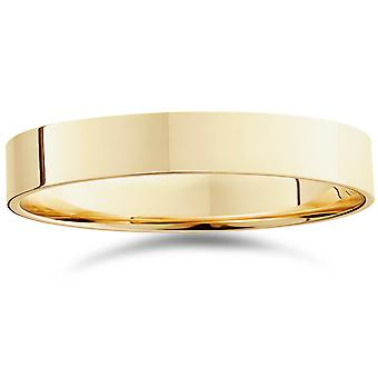 4mm Flat High Polished Wedding Band 14K Yellow Gold