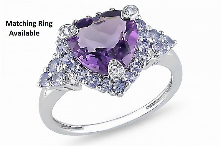 Affici Sterling Silver Pendant with Chain 18ct White Gold Plated ~ Heart Cut Amethyst CZ Gem