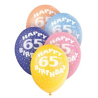 Unique Party 12 Inch 65th Assorted Latex Balloons (Pack Of 5)