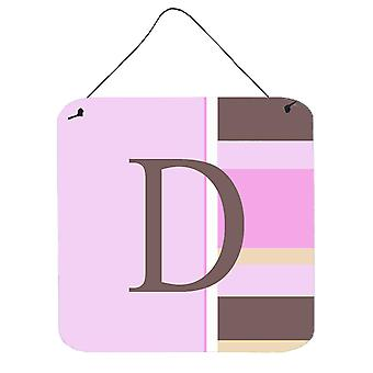 Letter D Initial Monogram - Pink Stripes Wall or Door Hanging Prints