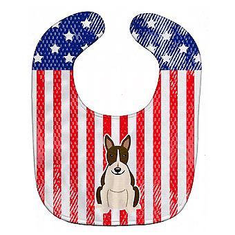 Carolineøerne skatte BB3131BIB patriotiske USA Bull Terrier mørke Brindle Baby hagesmæk