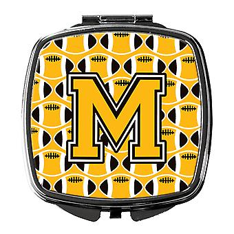 Letter M Football Black, Old Gold and White Compact Mirror