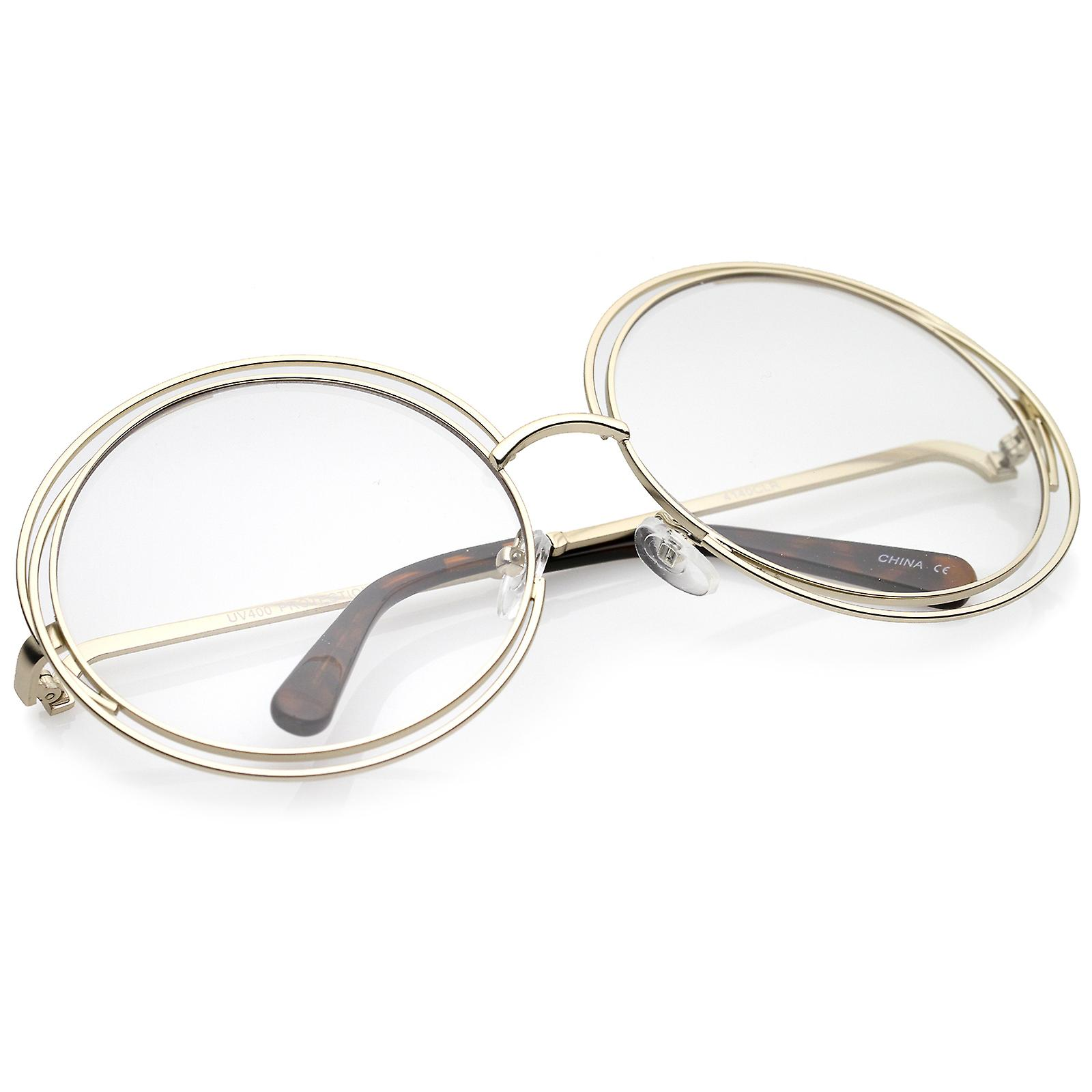 00e4b62d60 Women s Oversize Wire Frame Clear Lens Round Eyeglasses 62mm