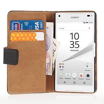 Caseflex Sony Xperia Z5 kompakt äkta läder plånbok väska - svart