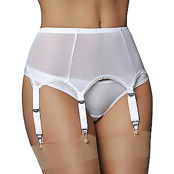 Nylon Dreams NDL61 Women's White Solid Colour Garter Belt 6 Strap Suspender Belt