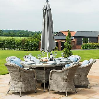 Maze Rattan Oxford 6 Seat Oval Dining Set Round Chairs & Ice Bucket