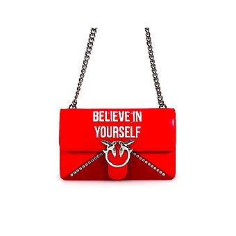 PINKO LOVE BAG 'BELIEVE IN YOURSELF' RED LEATHER