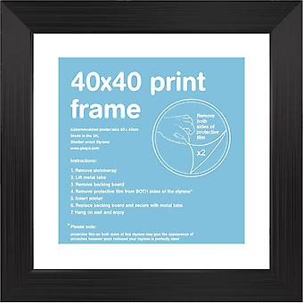 40x40cm Square sort Satin ramme