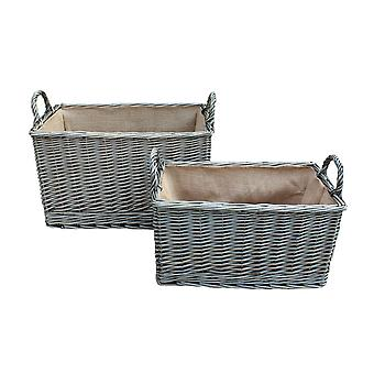 Antique Wash Rectangular Hessian Lined Wicker Basket Set of 2