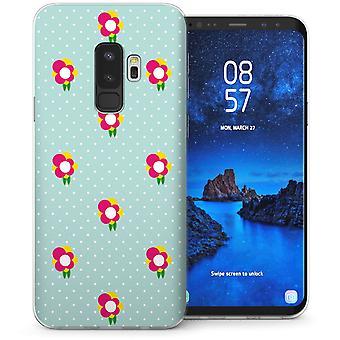 Samsung Galaxy S9 Plus Floral Print Polka Dot TPU Gel Case – Green