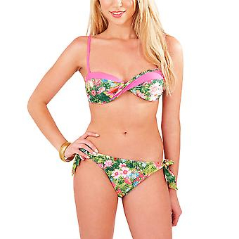 Boutique, Ladies Tropical Green Twist Bikini Set with Deatchable Straps, UK 10