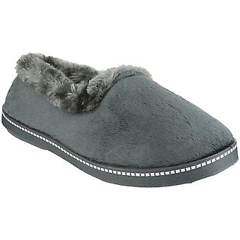 Mirak Ladies Dijon Faux Fur Accented Textile Stitch Slipper Grey
