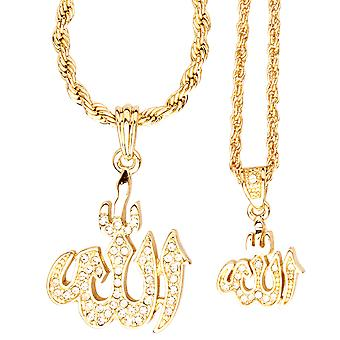 Iced Out Bling Mini Ketten Anhänger Set - 2 x ALLAH gold