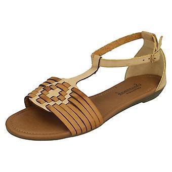 Ladies Savannah T-Bar Weave Sandals F00052 - Tan Synthetic - UK Size 7 - EU Size 40 - US Size 9