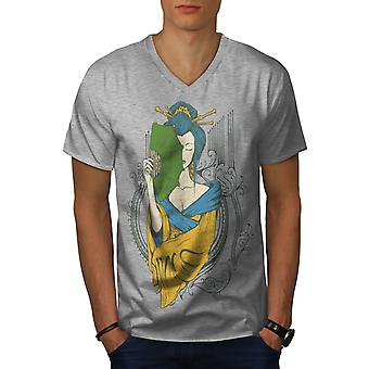 Girl Asia Japan Men GreyV-Neck T-shirt | Wellcoda
