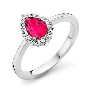 Orphelia sølv 925 Ring dråbe Ruby farve Zirconium ZR-7226/RU