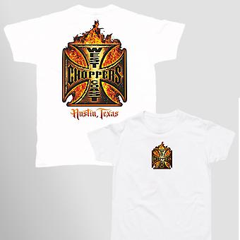 West Coast choppers mens T-Shirt in flames white