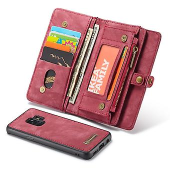 CaseMe protective cover cell phone case for Samsung Galaxy S9 G960F purse + pouch coffee Red