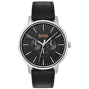 Hugo Boss Orange Black Dial Day & Date Sub Dials Black Leather Strap 1550065 Watch