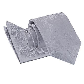 Silber Paisley Krawatte & Einstecktuch Satz