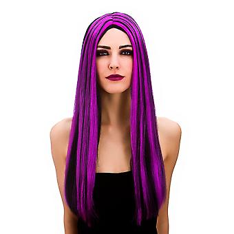 Ladies Halloween Bewitched Black & Purple Witch Wig Fancy Dress Accessory