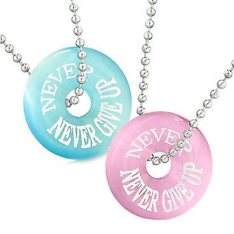 Amulets Never Never Give Up Best Friends or Love Couples Pink Sky Blue Simulated Cats Eye Necklaces