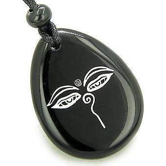 Magic Old Tibetan All Seeing Eye of Buddha Amulet Black Onyx Lucky Wish Stone Pendant Necklace