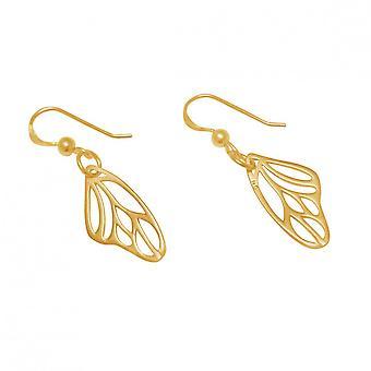 Women's earrings - earrings - 925 Silver - gold plated - butterfly wings - 3 cm