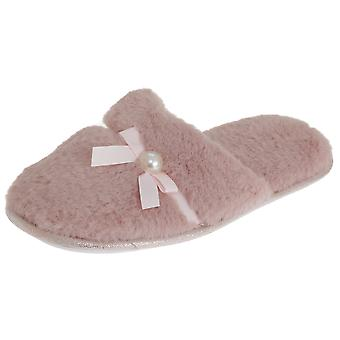 SlumberzzZ Womens/Ladies Faux Fur Bow Tie Slippers With Rubber Sole