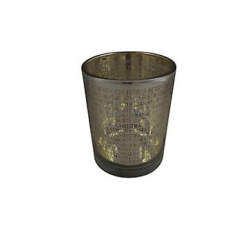 Pretty Glass Christmas Tea Light Holder