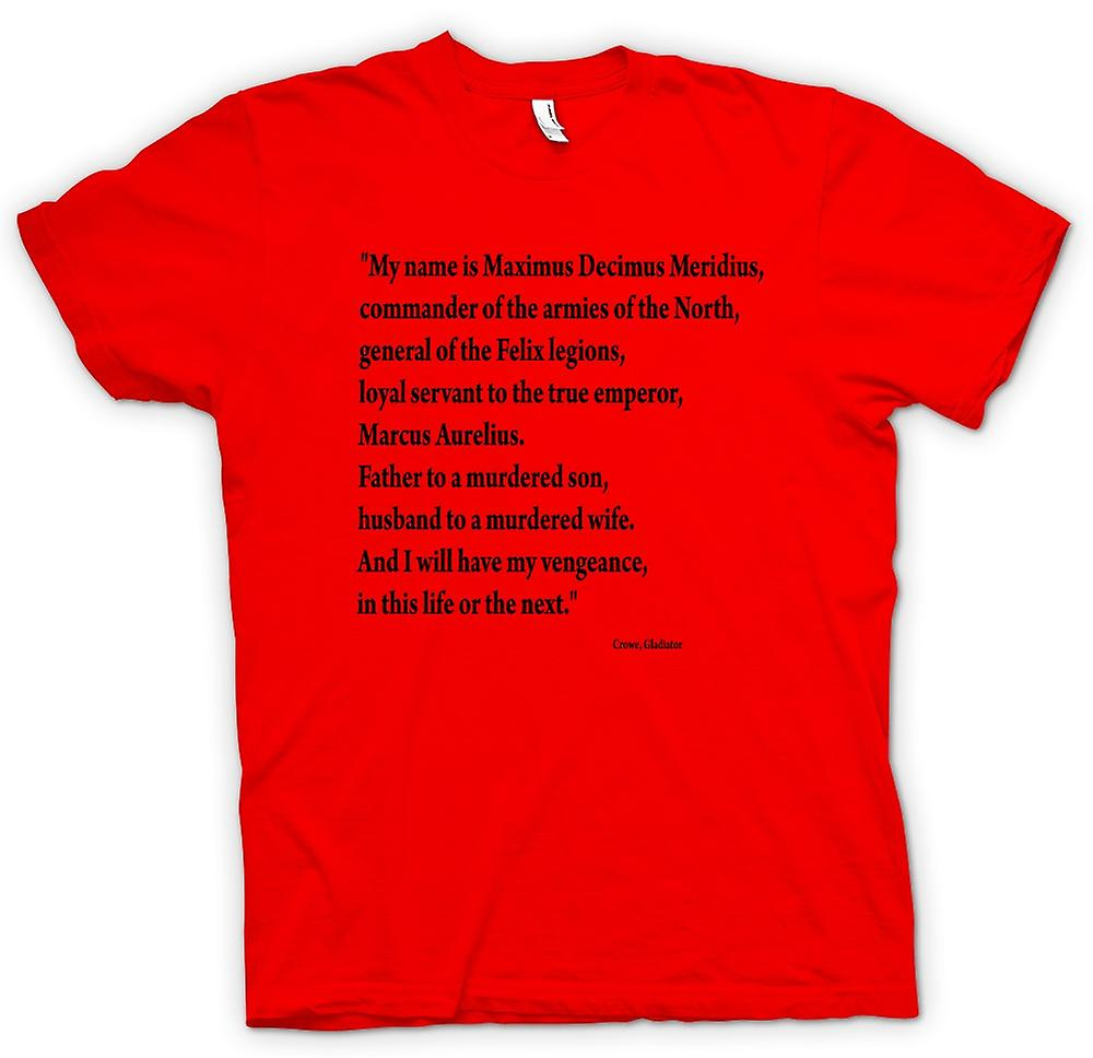 Heren T-shirt-Gladiator - Quote - Russell Crowe