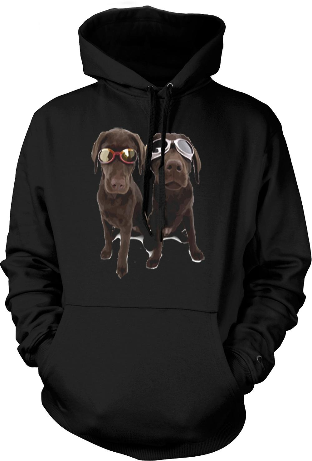 Mens Hoodie - Cool Black Labradors With Sunglasses