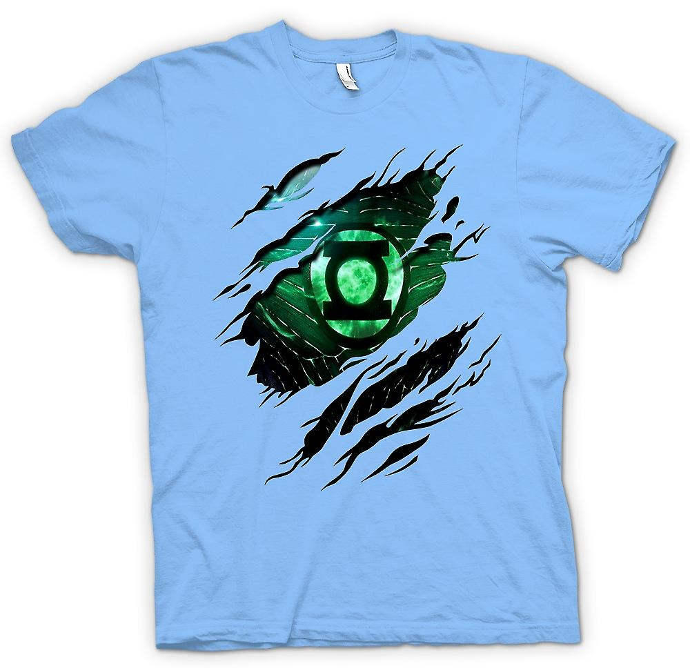 Mens T-shirt - das grüne Laterne - Superhero Riss Design