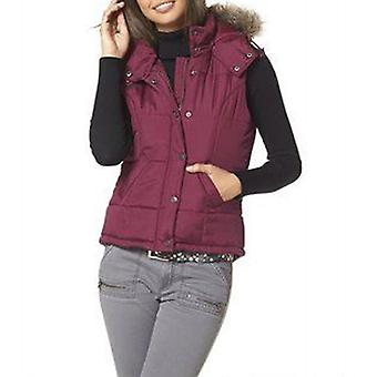 FLASHLIGHTS quilted ladies quilted vest with faux fur Bordeaux