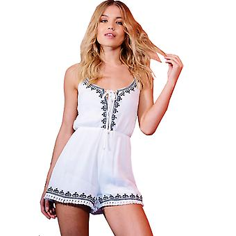 Parisian White Cotton Embroidered Playsuit With Lace Tie