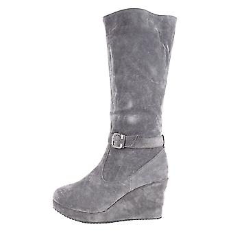 LMS Grey Suede Wedge Mid Calf Boot With Buckle