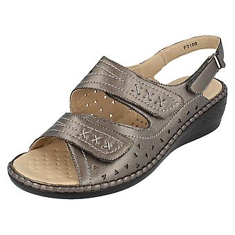 Ladies Eaze Wedge Sandals F3109 Pewter Size UK 4