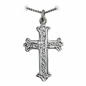 Srebrny 30x22mm fantazyjne wytłoczony wzór krzyż z krawężnika łańcucha 18 cali