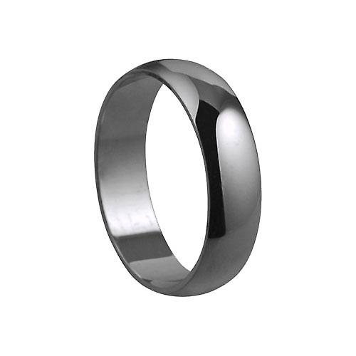 Platinum plain D shaped wedding ring 6mm wide