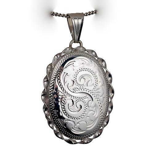 Silver 29x22mm engraved twisted wire edge oval Locket with Curb chain