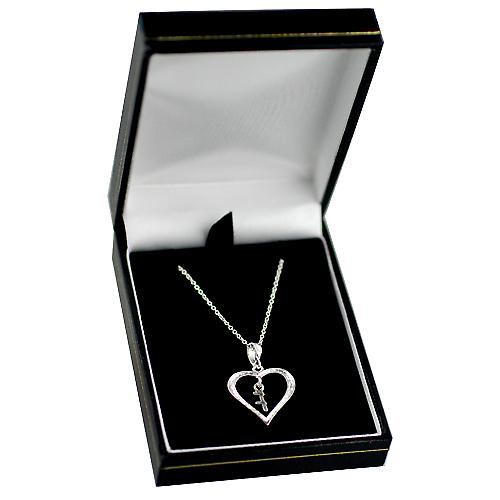 Silver 18x18mm initial F in a heart with rolo chain