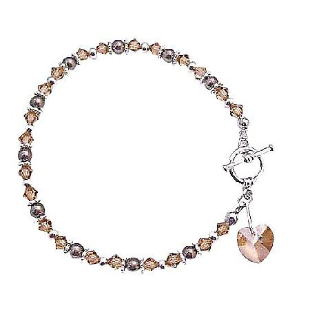 Cute Heart Charm Dangling Bracelet Brown Pearls Smoked Topaz Crystals