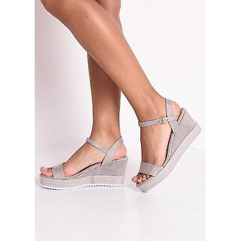 Faux Suede Platform Braided Cork Wedge Espadrille Sandals Grey