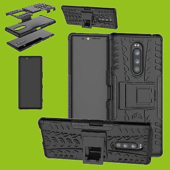 Hybrid Case 2teilig Robot Schwarz für Sony Xperia 1 6.5 Zoll Tasche Hülle Cover Schutz