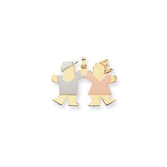 14 k Tri-colore solido raso lucido Engravable oro LG. ragazzo sulla sinistra ragazza sulla destra fascino - 4,9 grammi