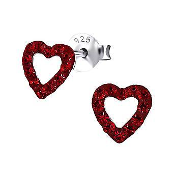 Sterling Silver Red Heart Crystal Stud Earrings