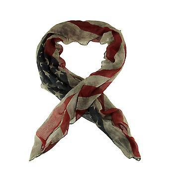 Vintage Faded USA American Flag Print Lightweight Summer Scarf